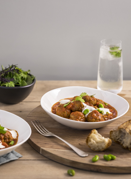 Lamb Meatballs with Broad Beans & Yoghurt